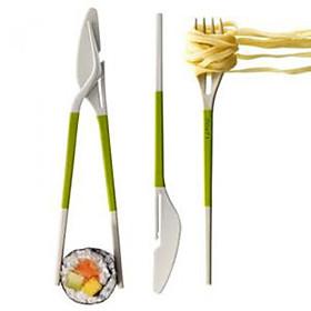 3-in-1 Knife Fork Chopstick Set (Random Color)