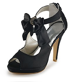Satin Stiletto Heel Sandals / Peep Toe With Zipper Wedding / Party Evening Shoes (More Colors Available)