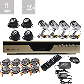 vendita all'ingrosso a bassissimo prezzo 8ch h.264 cctv dvr kit (8 telecamere Nightvision CMOS)