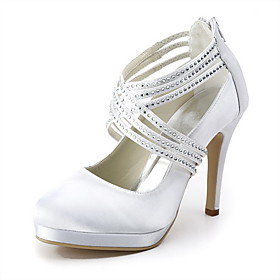 Satin Stiletto Heel Pumps With Rhinestone Wedding Shoes (More Colors Available)
