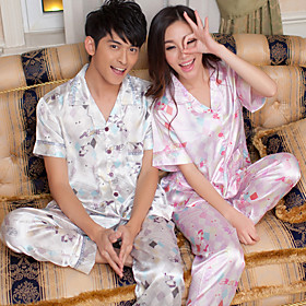 Cartoon Silk Short Sleeve Pajamas