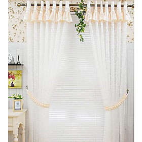 White Casual Sheer Curtains (Two Panels Including Pink Valance)