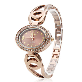 Women's Hollow Alloy Analog Quartz Bracelet Watch A-6114 (Gold)