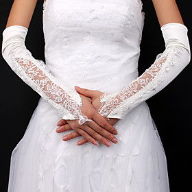 Satin / Lace Bridal Fingerless Opera Length Gloves