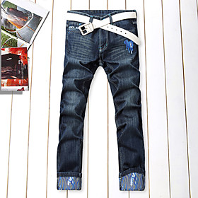 Mens Straight Floral Jean Pants