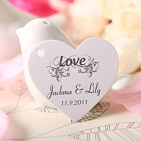 Personalized Heart Shaped Favor Tag - Love (Set of 60)
