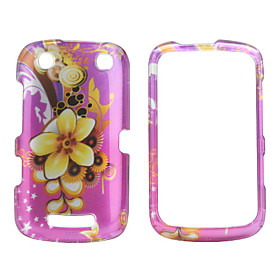 Purple Flower Style Back Case and Bumper Frame for Blackberry 9380 (Pink)