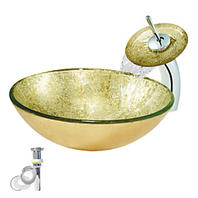 Tempered Glass Vessel Golden Sink With Waterfall Faucet ,Pop - Up drain and Mounting Ring