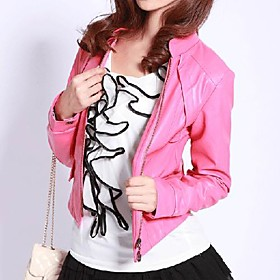 Long Sleeve Standing Collar PU Jacket (More Colors)
