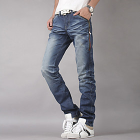 Mens Slim Zipper Straight Jean Pants