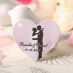 Personalized Heart Shaped Favor Tag - Bride   Groom Wedding (Set of 60)