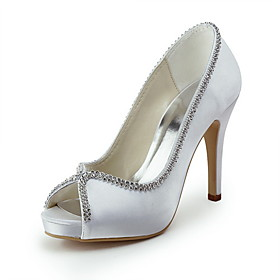 Satin Stiletto Heel Peep Toe With Beading Wedding Shoes (More Colors Available)
