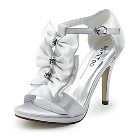 Satin Stiletto Heel Pumps / Sandals Wedding Shoes With Rhinestone