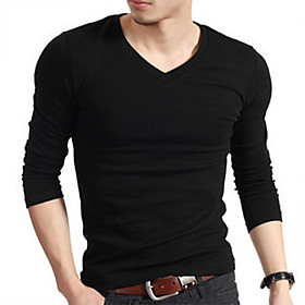 Mens Lycra Elastic V-neck T-shirt