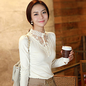 Women's Lace Collar Long Sleeve Blouse