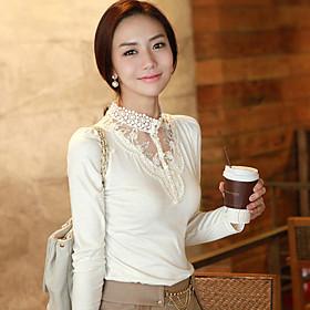 Women's Lace Collar Long Sleeve Blouse