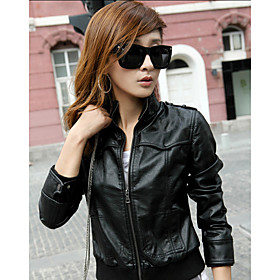 Long Sleeve Standing Collar PU Jacket With Pockets