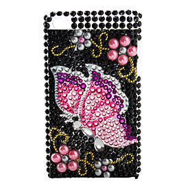 Butterfly Style Pearl Diamond Case for iTouch 4 (Red)