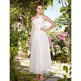 Sheath/ Column Strapless Ankle-length Organza Wedding Dress