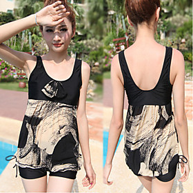 Lady Split Straight Angle Swimming Suit