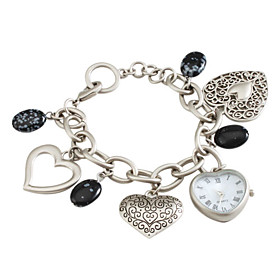 Women's Hollow Alloy Analog Quartz Bracelet Watch (Silver)