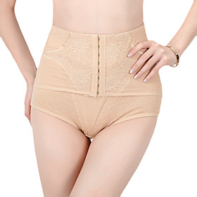 Cotton High Waist Shaper Briefs With Jacquard