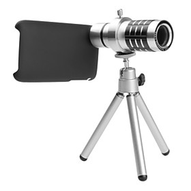 12x Telephoto Thread Lens with Back Case and Tripod for iPhone 3G and 3GS