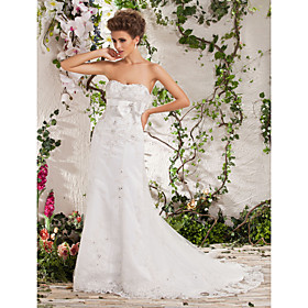 A-line Princess Strapless Court Train Tulle  Satin Wedding Dress