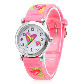 Waterproof Silicone Analog Quartz Wrist Watch with Heart (Pink)