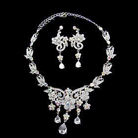 Silver Flowers Ladies' Jewelry Set Including Necklace and Earrings