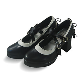 Handmade Black PU Leather 7.5cm High Heel Sweet Lolita Shoes with Bow