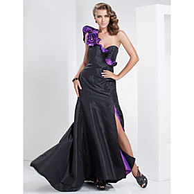 A-line One Shoulder Sweep/Brush Train Taffeta Evening Dress