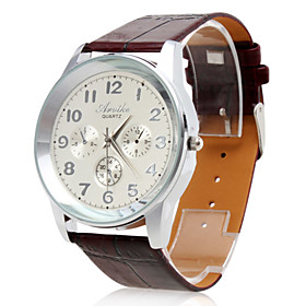 Men's Waterproof PU Analog Quartz Wrist Watch gz0009017 (Brown)