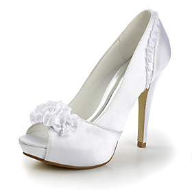 Satin Stiletto Heel Peep Toe Pumps Wedding Shoes With Satin Flower