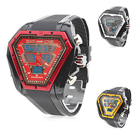 Men's Multi-Functional Rubber Analog Digital Multi-Movement Wrist Watch (Black)