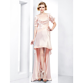Sheath/ Column Sweetheart Asymmetrical Charmeuse And Lace Evening Dress