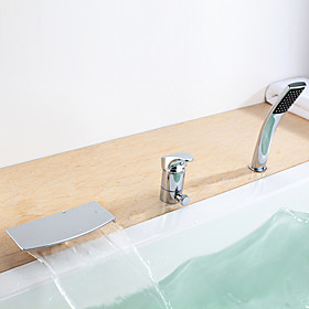 Contemporary Waterfall Tub Faucet with Hand Shower
