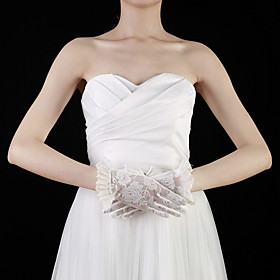 Lace Wrist Length Fingertips Bridal Gloves With Embroidery (More Colors)