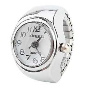 Women's Stylish Alloy Analog Quartz Ring Watch (Silver)