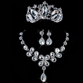 Luxurious Rhinestone Wedding Jewelry Set Including Tiara,Necklace,Earrings