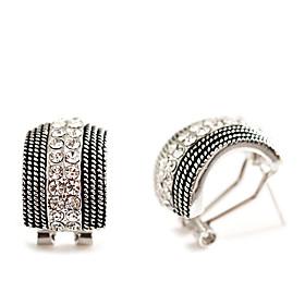 Vertical Stripes Rhinestons Earrings