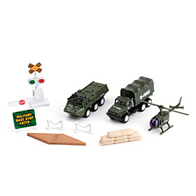 Fire Fighting Toys Pack with Helicopter, Truck, Car (Army Green)