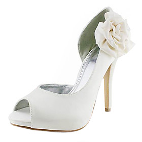 Satin Stiletto Heel Peep Toe / Pumps With Satin Flower Wedding / Party Evening Shoes (More Colors Available)