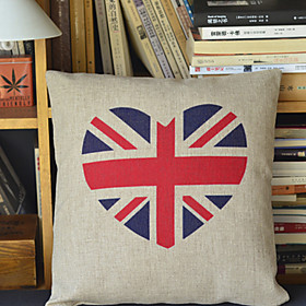Union Jack Pattern Cotton Decorative Pillow Cover