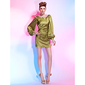 Sheath/ Column Bateau Short/ Mini Stretch Satin Cocktail Dress