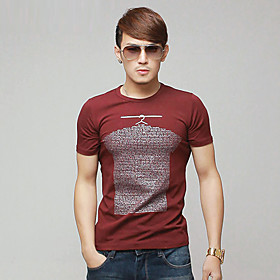 Slim Fit Mens' Round Collar Short Sleeve T-shirt