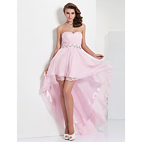 A-line Sweetheart Asymmetrical Floor-length Chiffon Evening Dress