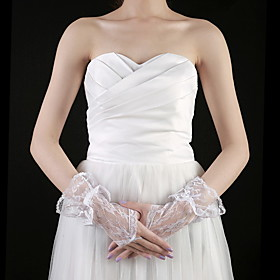 Lace Wrist Length Fingerless Bridal Gloves (More Colors)
