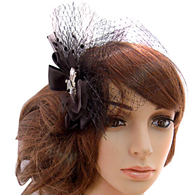 Heart Cut Rhinestone Tulle Wedding Bridal Flower Headpiece