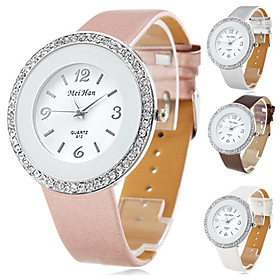 Women's Stylish PU Leather Analog Quartz Wrist Watch with Crystals (Assorted Colors)